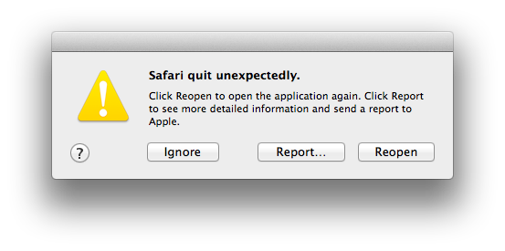 Safari quits