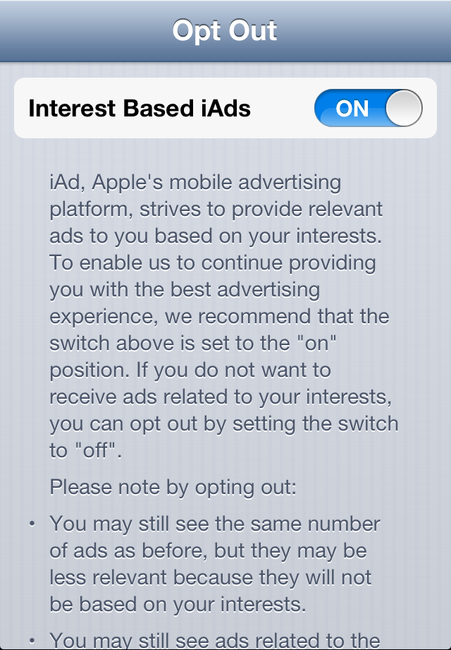 iAds Opt Out Screen 1