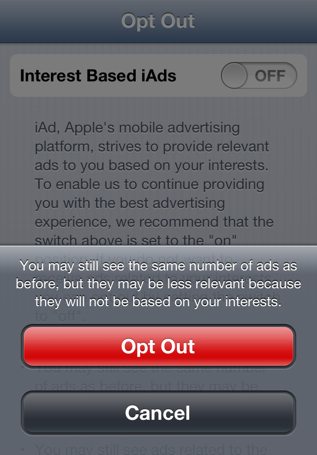 iAds Opt Out Screen 2